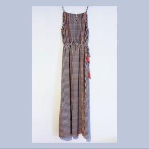 THML Striped Maxi Dress, Black White Orange
